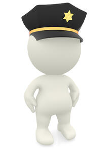 3D police officer - isolated over a white background