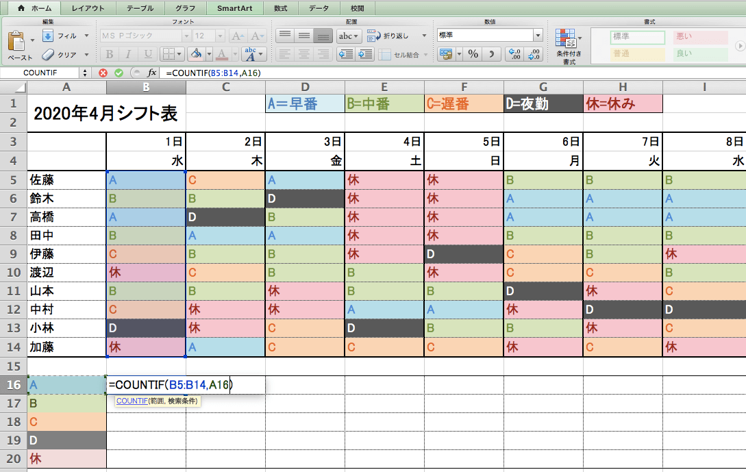 Excelの関数を使ったシフト作成画面14