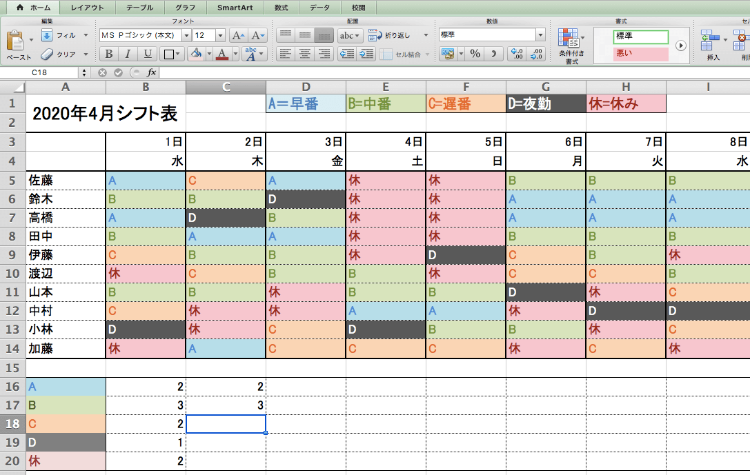 Excelの関数を使ったシフト作成画面15