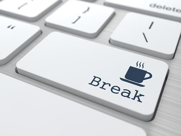 White Button with Break on Computer Keyboard. Business Concept.-1